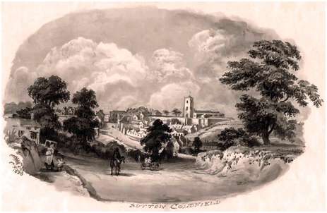 Sutton Coldfield from the Cup Inn by Miss Bracken [1838] [Image Courtesy of Sutton Coldfield Reference Library]