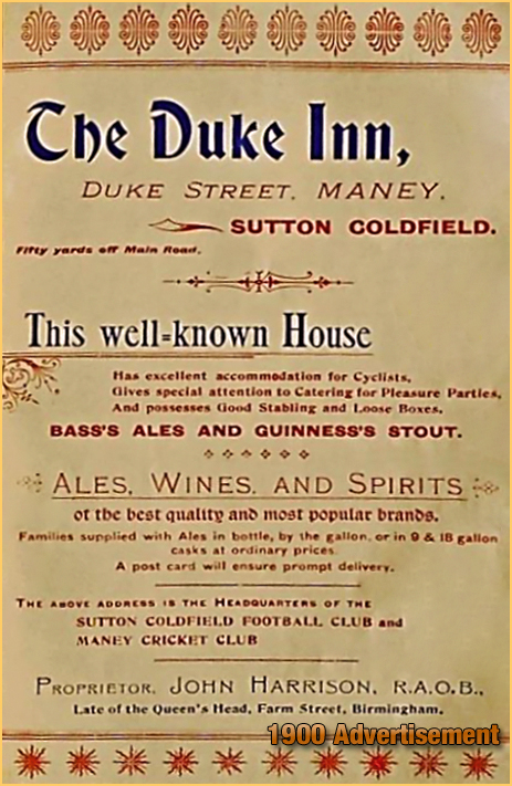 "Advertisement for the Duke Inn at Maney in the 1900 ""Directory of Sutton Coldfield and Erdington"" [1900] Courtesy of Sutton Coldfield Reference Library"