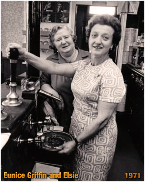 Eunice Griffin with Elsie the barmaid at the Duke Inn at Maney in Sutton Coldfield [1971]