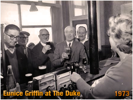 Regular customers served by landlady Eunice Griffin at the Duke Inn at Maney in Sutton Coldfield [1973]