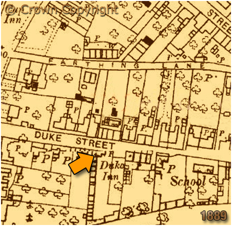 Map showing the location of the Duke Inn at Sutton Coldfield in Warwickshire [1889]