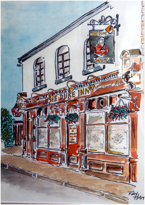 Watercolour Painting of the Duke Inn at Maney in Sutton Coldfield by Ray Ham
