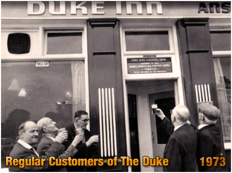 Regular customers toast the Duke Inn at Maney in Sutton Coldfield [1973]