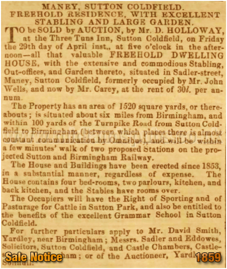 Sale Notice for the property that would become the Duke Inn at Maney in Sutton Coldfield [1859]