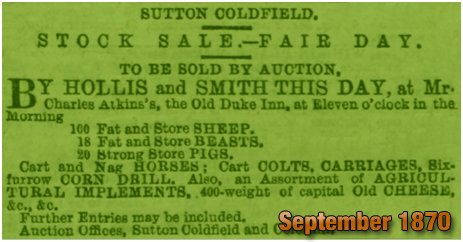 Sale Notice for a Stock Sale held at the Old Duke Inn at Maney in Sutton Coldfield [1870]