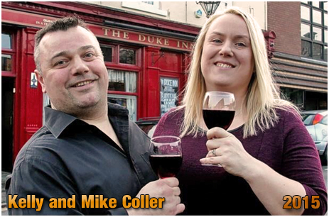 Kelly and Mike Coller outside the Duke Inn at Maney in Sutton Coldfield [2015]