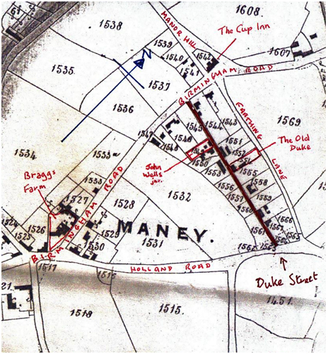 Detail of the 1856 Parochial Valuation Map of Sutton Coldfield [With many thanks to Roger Lea [SCLHG]