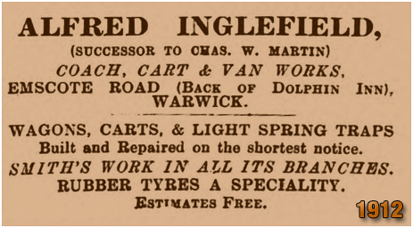 Warwick : Advertisement for Alfred Inglefield at the Dolphin Inn on Emscote Road [1912]