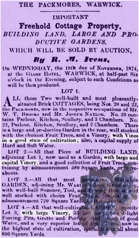 Warwick : Advertisement for an auction of properties at The Packmores [1874]