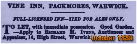 Advertisement for the Vine Inn at The Packmores [1889]
