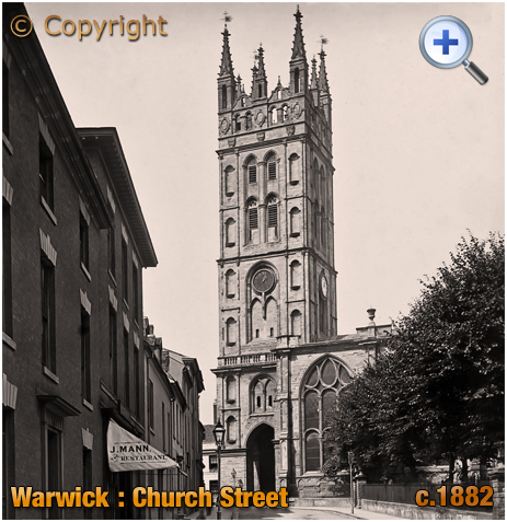 Warwick : Church Street with Joseph Mann's Restaurant and the Church of Saint Mary [c.1882]