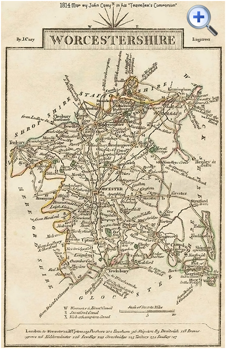"County Map of Worcestershire by John Cary in his ""Traveller's Companion"" [1814]"