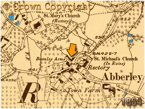 Abberley : Map extract showing the Bromley Arms [1884]
