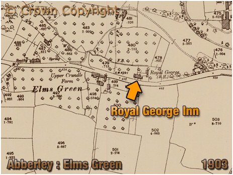 Abberley : Map showing the location of the Royal George at Elms Green [1903]