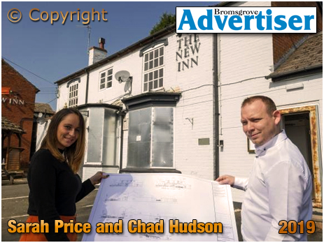 Bournheath : Sarah Price and Chad Hudson outside the New Inn [Photo courtesy of the Bromsgrove Advertiser 2019]