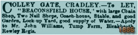 Cradley : Advertisement for Beaconsfield House at Colley Orchard [1886]