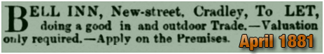 Cradley : Advert for the lease of the Bell Inn on New Street [1881]
