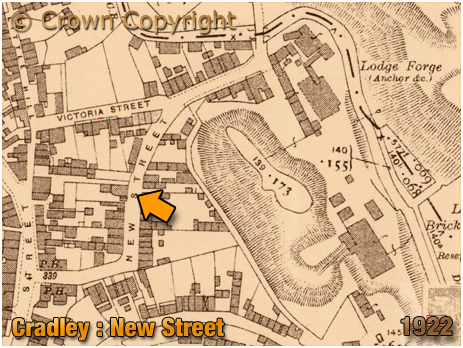 Cradley : Map Extract showing New Street [1922]