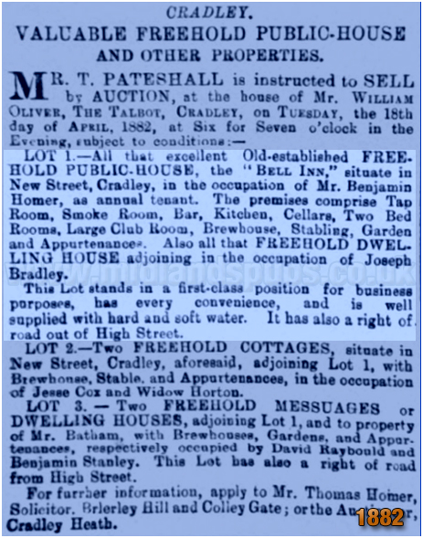 Cradley : Notice for an auction for the freehold of the Bell Inn on New Street [1882]