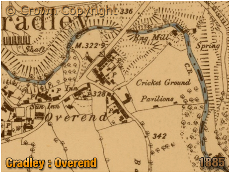 Cradley : Map Extract showing Overend [1885]