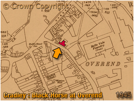Cradley : Map Extract showing the Black Horse at Overend [1945]