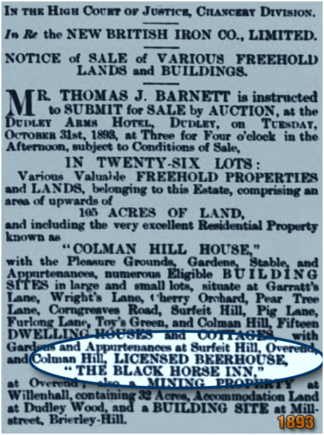 Cradley : Sale Notice for an auction of the Black Horse Inn at Overend [1893]
