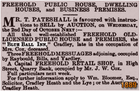 Cradley : Sale of the Blue Ball Inn at The Innage [1889]