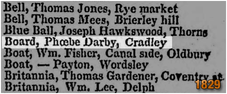 Cradley : The Board in Pigot's Trade Directory [1829]