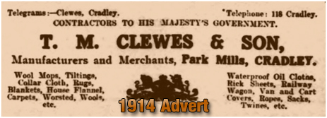 Cradley : Advertisement for T. M. Clewes & Son of Park Mills [1914]