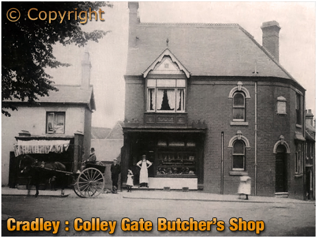 Cradley : Butcher's Shop of Harry Tate at Providence House in Colley Gate [c.1906]