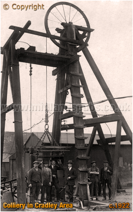 Colliery Winding Gear and Miners in Cradley area [c.1922]