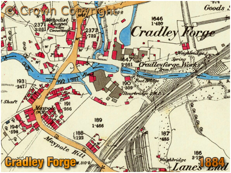 Cradley : Map extract showing Cradley Forge [1884]