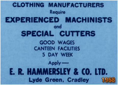Cradley : Job Advert for E. R. Hammersley and Co. Ltd. of Lyde Green [1968]