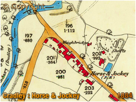 Cradley : Map extract showing the Horse and Jockey on Mogul Lane [1884]