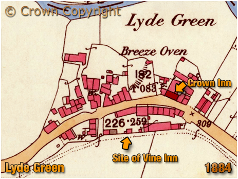 Cradley Map Extract Showing Lyde Green [1884]