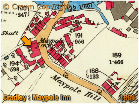 Cradley : Map extract showing the Maypole Inn near Cradley Forge [1884]