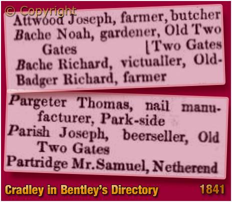 Cradley : Joseph Parish and Richard Bache  in Bentley's Trade Directory [1841]