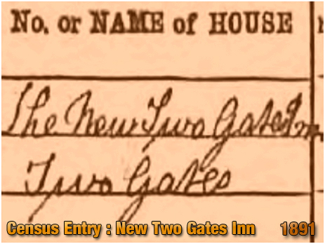 Cradley : The New Two Gates Inn recorded on the 1891 Census