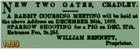Cradley : Rabbit Coursing Meeting at the  New Two Gates Inn [1889]