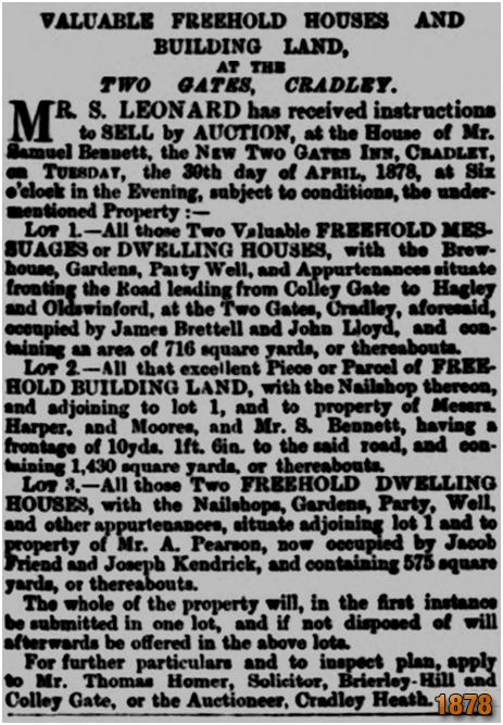 Cradley : Sale of property on Two Gates sold at the New Two  Gates Inn [1878]