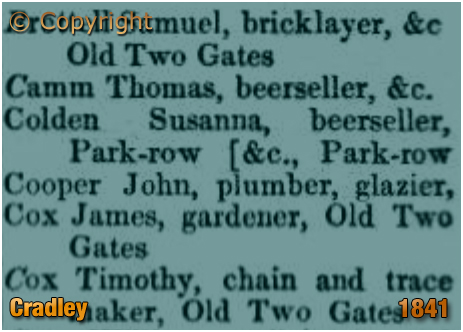 Cradley : People and Trades of Old Two Gates at Cradley in Bentley's Trade Directory [1841]