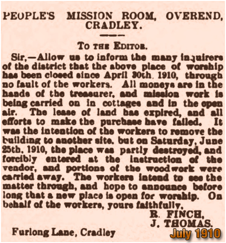 Cradley People's Mission Room : Letter to the Editor of the Dudley News [1910]