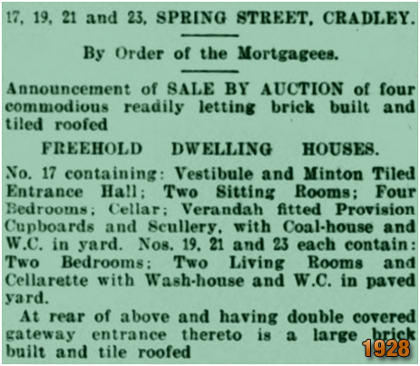 Cradley : Auction of houses in Spring Street [1911]