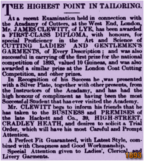 Cradley : Notice of Diploma for James Clewitt, later of No.9 Talbot Street [1893]