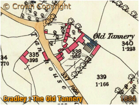 Cradley : Map extract showing the Old Tannery at Colley Gate [1884]