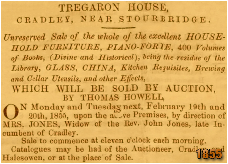 Cradley : Auction of furniture at Tregaron House in Toys Lane [1855]