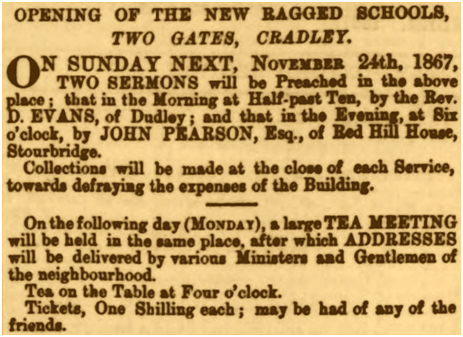 Cradley : Opening of the Two Gates Ragged School [1867]