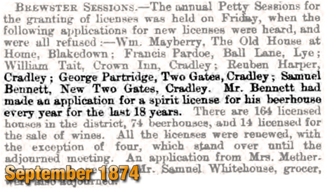 Brewsters Sessions for Two Gates Beer Houses [1874]