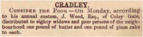 Newspaper article on annual gift to Widows and Poor of Cradley [January 1866]