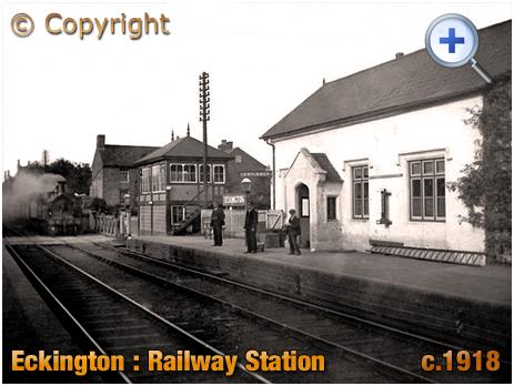 Eckington : Railway Station with Locomotive and Signal Box [c.1918]